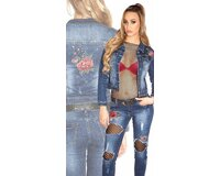 Džínsová bunda s kvetinovými výšivkami