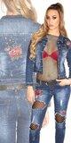 Džínsová bunda s kvetinovými výšivkami Modrá
