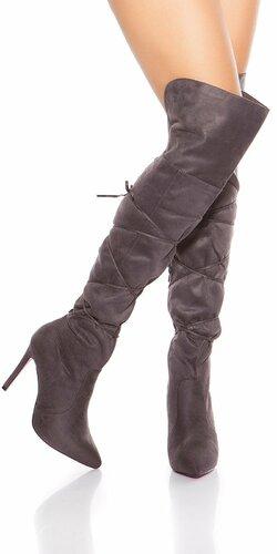 Dámske semišové čižmy - Vysoké nad kolená so šnúrkami Antracitová