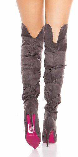 Semišové čižmy nad kolená so šnúrkami Antracitová