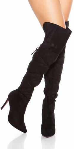 Semišové čižmy nad kolená so šnúrkami Čierna
