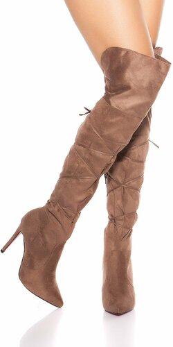 Semišové čižmy nad kolená so šnúrkami Cappuccino