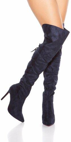 Semišové čižmy nad kolená so šnúrkami Tmavomodrá