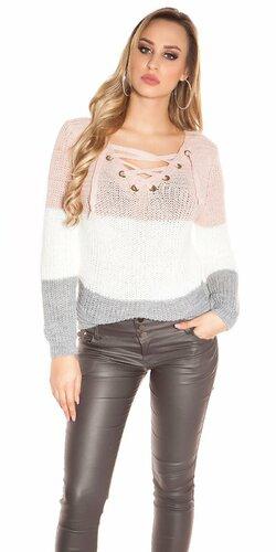 Hrubý pletený sveter Bledá ružová