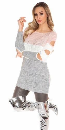 Pletený dlhý pulóver s otvormi na rukávoch | Bledá ružová