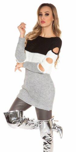 Pletený dlhý pulóver s otvormi na rukávoch Čierna