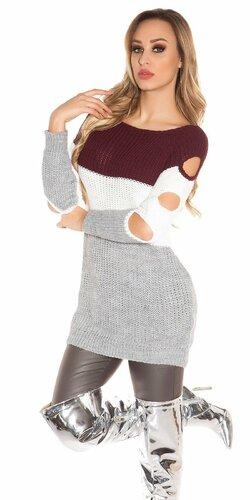 Pletený dlhý pulóver s otvormi na rukávoch | Bordová