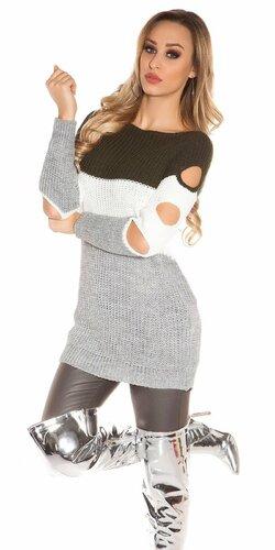 Pletený dlhý pulóver s otvormi na rukávoch | Khaky