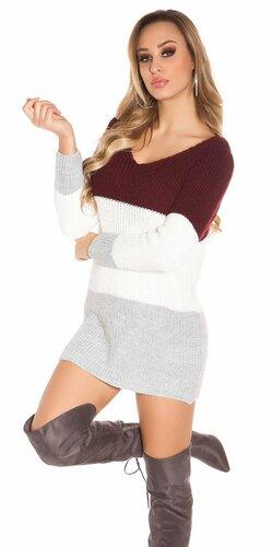 Pletený sveter s otvormi na zadnej strane | Bordová