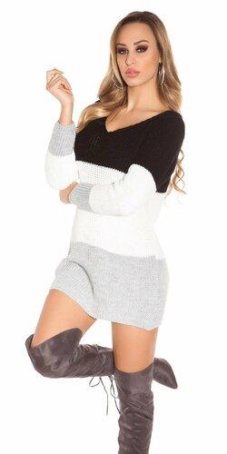 Pletený sveter s otvormi na zadnej strane | Čierna