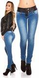 Dámske skinny džínsy s čiernym pásom Tmavomodrá