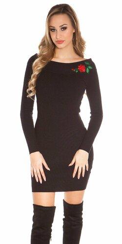 Pletené šaty s kvetinovou nášivkou Čierna