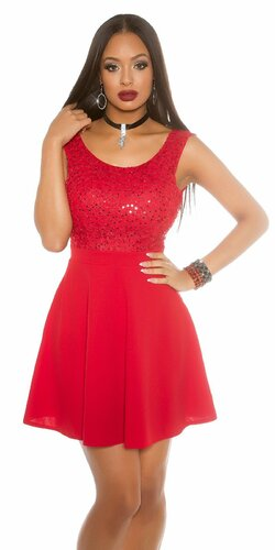 Flitrované tielkové šaty s Áčkovou sukňou Červená