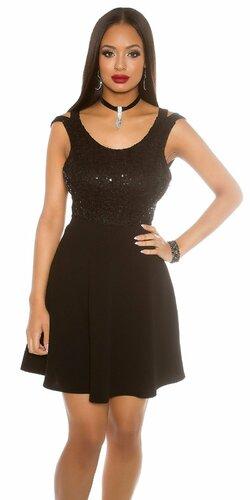 Flitrované tielkové šaty s Áčkovou sukňou | Čierna