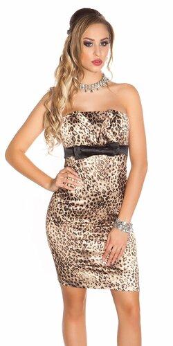Koktejlové šaty dámske Leopard