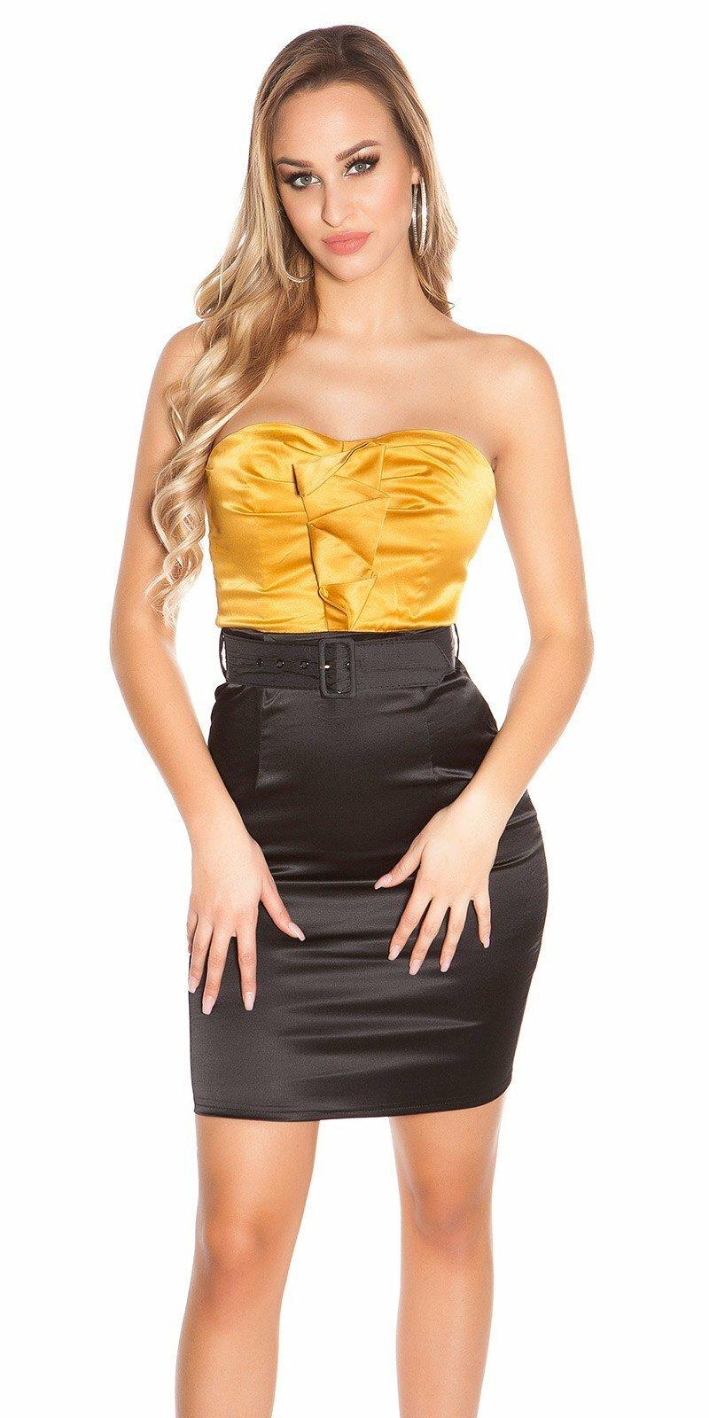 Kokteilové šaty s opaskom Zlatá 5f3bf740087