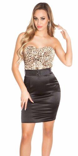 Kokteilové šaty s opaskom Leopard