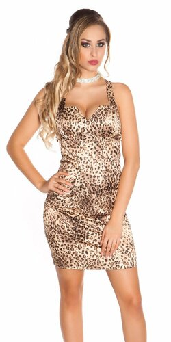 Kokteilové šaty bez rukávov | Leopard