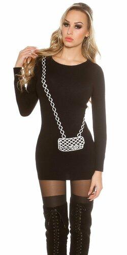 Dámsky dlhý sveter s obrázkom kabelky Čierna