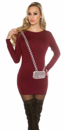 Dámsky dlhý sveter s obrázkom kabelky Bordová