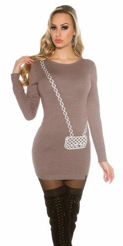 Dámsky dlhý sveter s obrázkom kabelky Cappuccino