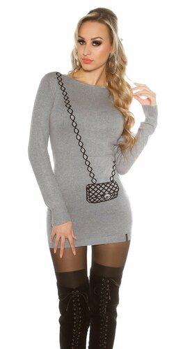 Dámsky dlhý sveter s obrázkom kabelky Šedá