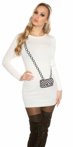 Dámsky dlhý sveter s obrázkom kabelky Biela