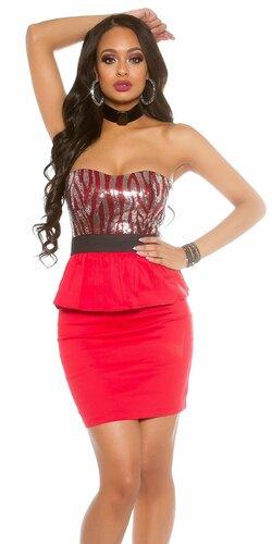 Dámske štýlové mini šaty s volánikom | Červená