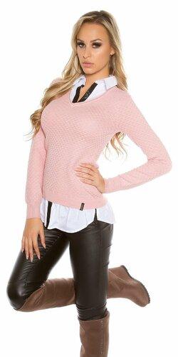 Dámska blúzka/sveter (2v1) KouCla | Bledá ružová