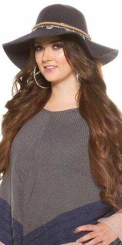 Dámsky klobúk ,,ethno look,, | Antracitová