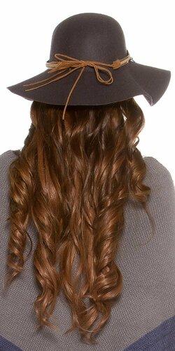 Dámsky klobúk ,,ethno look,, Antracitová