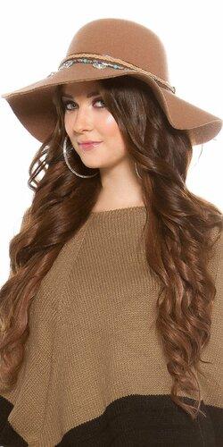 Dámsky klobúk ,,ethno look,, Karamelová