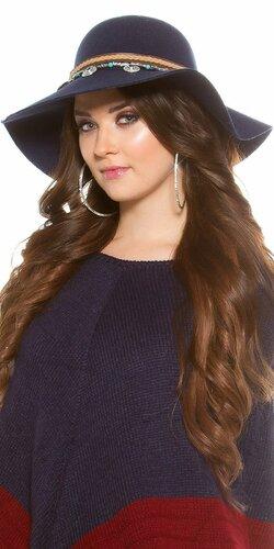 Dámsky klobúk ,,ethno look,, | Tmavomodrá