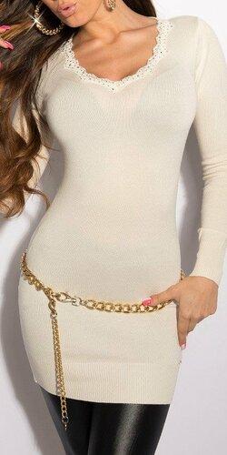 KouCla dlhý sveter s krásnym dekoltom Biela