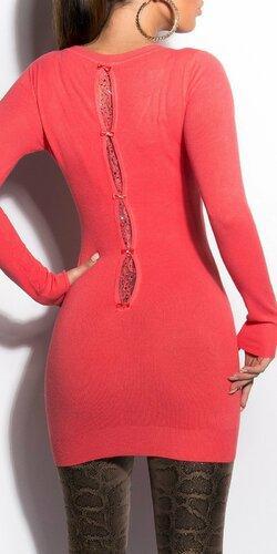 Klasický dlhý sveter s mašličkami Koralová