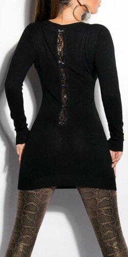 Klasický dlhý sveter s mašličkami Čierna