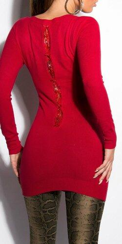 Klasický dlhý sveter s mašličkami | Červená