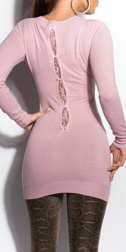 Klasický dlhý sveter s mašličkami Bledá ružová