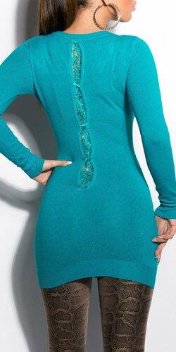 Klasický dlhý sveter s mašličkami Zafírová
