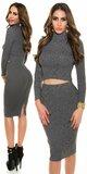 Pozdĺžne vrúbkovaná pletená sukňa Antracitová