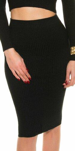 Pozdĺžne vrúbkovaná pletená sukňa Čierna