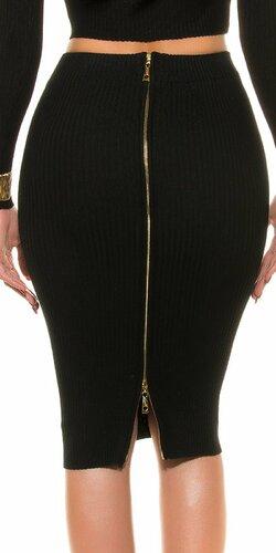 Pozdĺžne vrúbkovaná pletená sukňa | Čierna