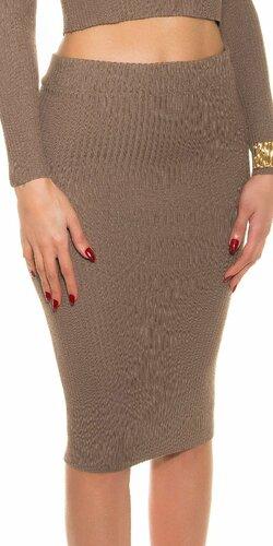 Pozdĺžne vrúbkovaná pletená sukňa | Cappuccino