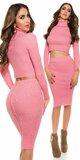 Pozdĺžne vrúbkovaná pletená sukňa Koralová
