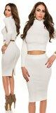 Pozdĺžne vrúbkovaná pletená sukňa Krémová