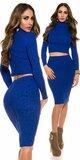 Pozdĺžne vrúbkovaná pletená sukňa Tmavomodrá