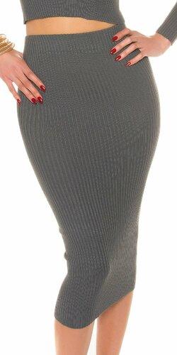 Maxi pletená sukňa s vrúbkovaním Antracitová