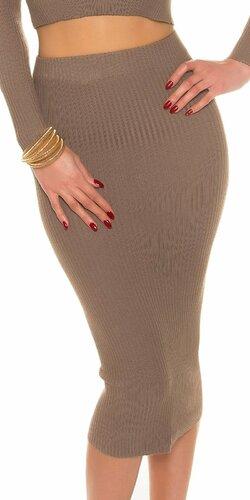 Maxi pletená sukňa s vrúbkovaním Cappuccino