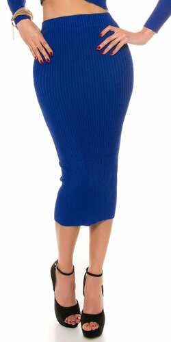 Maxi pletená sukňa s vrúbkovaním Tmavomodrá