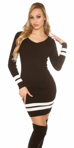 Pletené mini šaty s pruhmi | Čierna